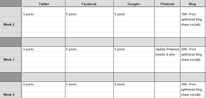 How To Plan Your Marketing Content Calendar - Facebook post calendar template