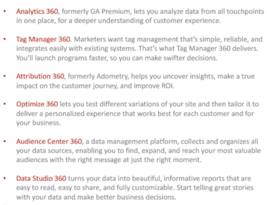 Description of the platforms in Google Analytics 360 Suite