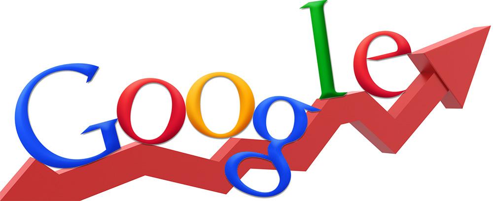 Google logo with growth arrow