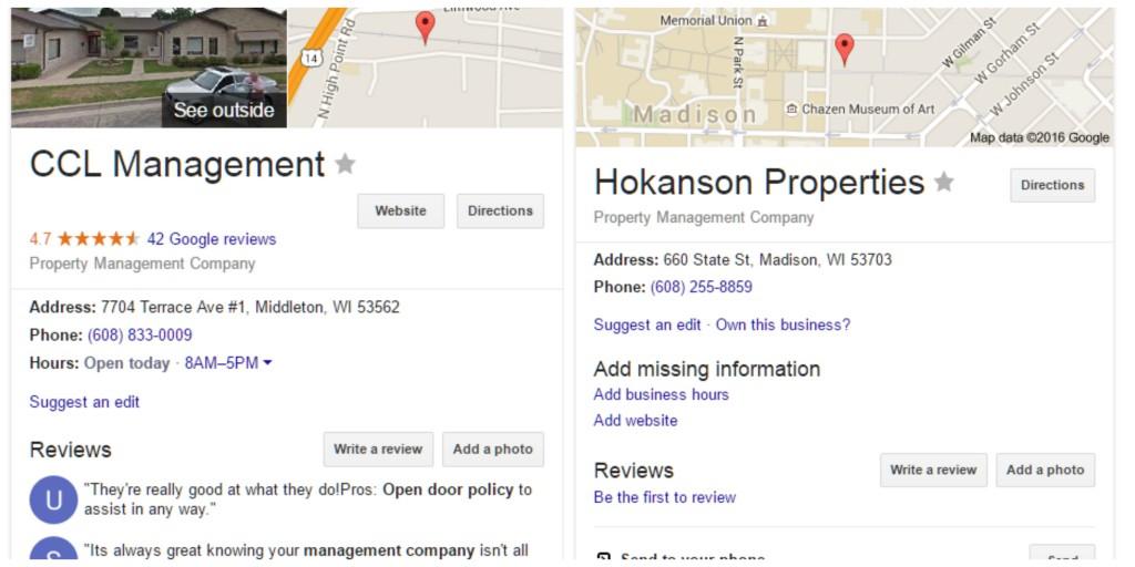 side by side of google listings