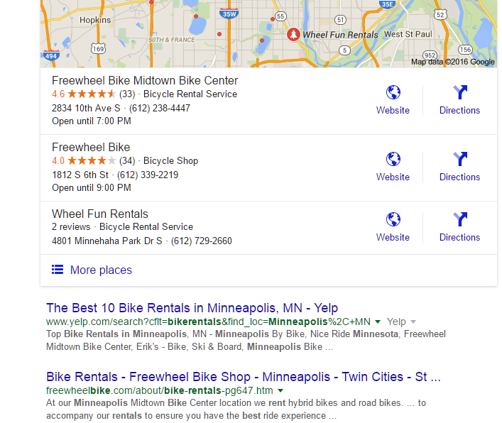 Local Duluth SEO search results
