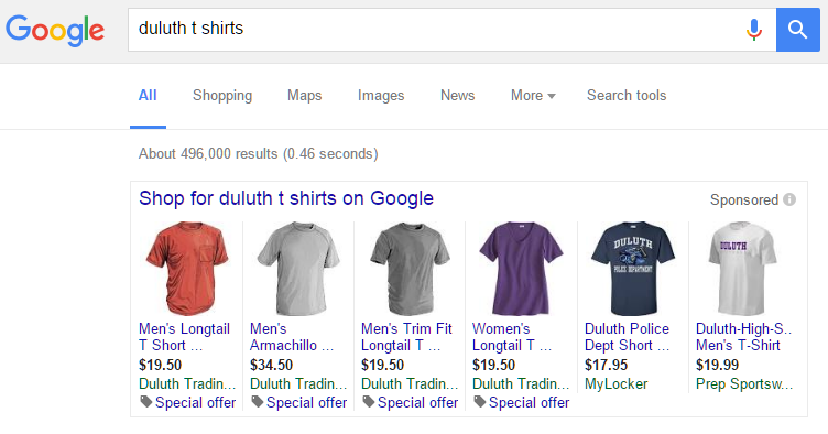 duluth t shirt shopping ads