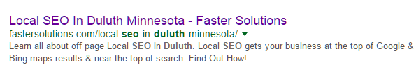 Faster Solutions Duluth SEO Example