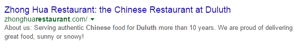 Local Duluth SEO Result Example