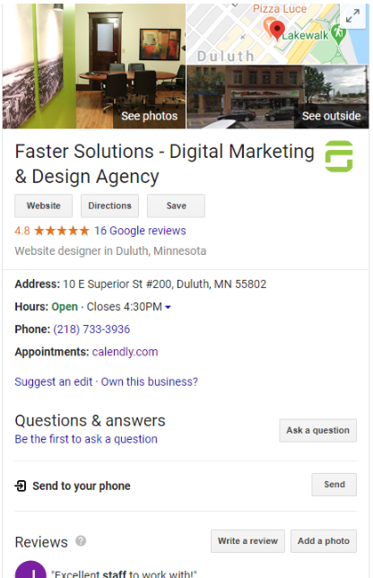 Faster Solutions Google My Business Listing