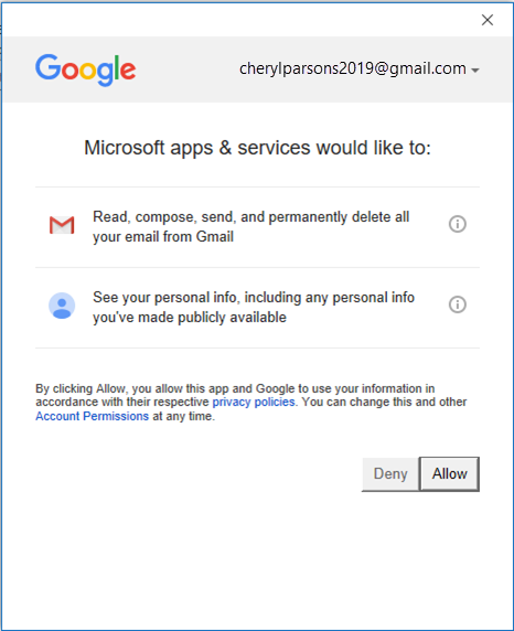 Connecting Gmail to Outlook